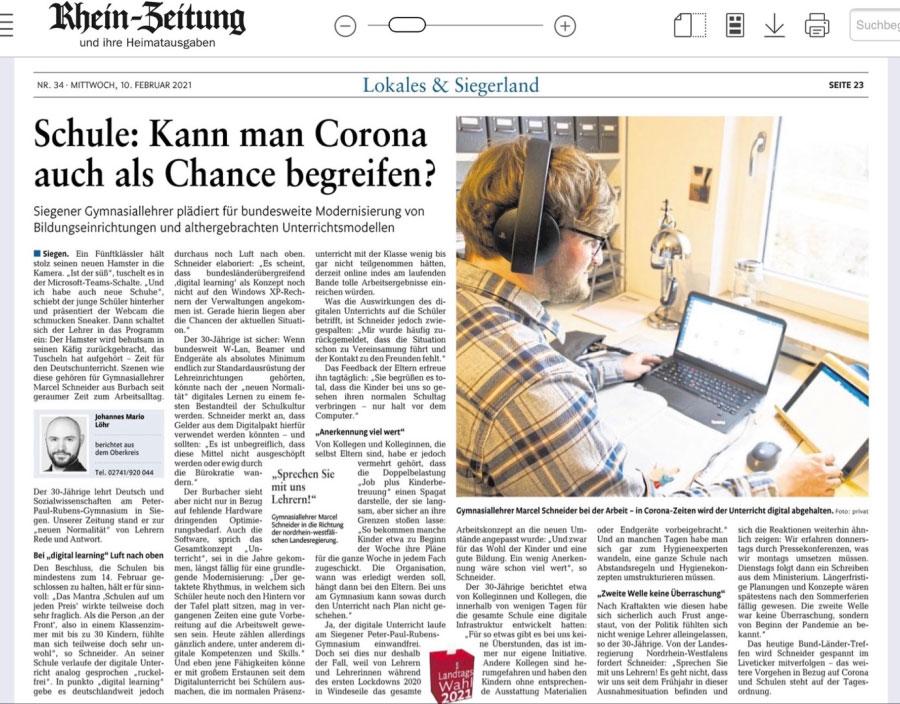 Rheinzeitung Screenshot über das Peter Paul Rubens Gymnasium